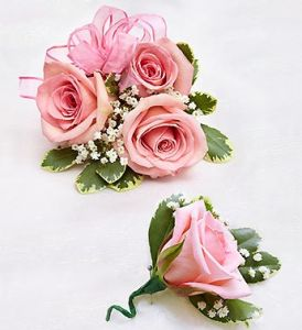 Pink Rose Corsage Combo