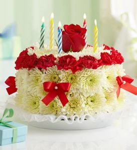 Flower Birthday Cake Red