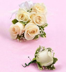 White Rose Corsage Combo
