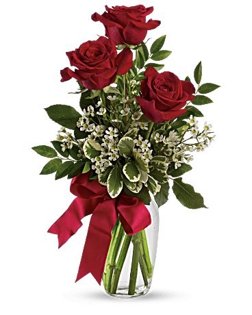3 Red Roses In Bud Vase Barstow Floral Bridal