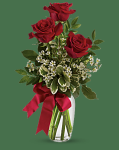 3 Red Roses in Bud Vase